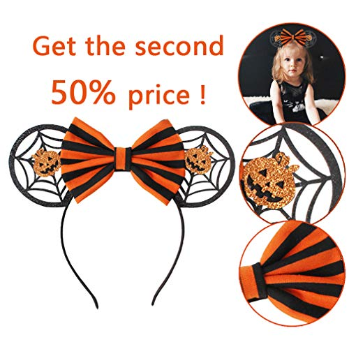 YanJie Halloween Sequin Mouse Ears - Glitter Hair Accessories Party Favor Decoration Cosplay Costume for Children & Adults (Pierced) -