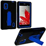 Cell Accessories For Less (TM) Black / Blue Hybrid Heavy Duty Hard/Soft Case Cover with Stand for LG Optimus G E970 At&t - By TheTargetBuys