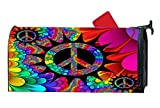 Peace And Color Flower Power Mailbox Cover Magnetic Personalized MailWrap Mailbox Makeover Cover Vinyl with Full-surface Magnet on Back 6.5 x 19 Inches