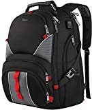 17 Inch Laptop Backpack,Extra Large Durable TSA Friendly Computer Backpack for Men Women,Waterproof School Book Bag with USB Charging Port,Luggage Sleeve,Headphones Hole,Black
