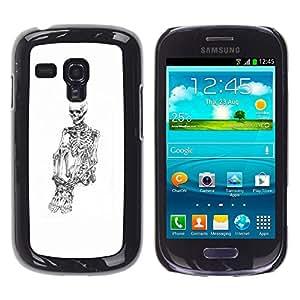 Shell-Star Arte & diseño plástico duro Fundas Cover Cubre Hard Case Cover para Samsung Galaxy S3 III MINI (NOT REGULAR!) / I8190 / I8190N ( Skull Skeleton Depressed White Black )