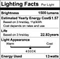 A19 LED Light Bulbs, 100-125W Equivalent LED Bulbs, 1500 Lumens Daylight White Edison Bulbs, E26 Medium Screw Base, No Flicker, CRI 80+, 25000+ Hours Lifespan, Non Dimmable, 12-Pack