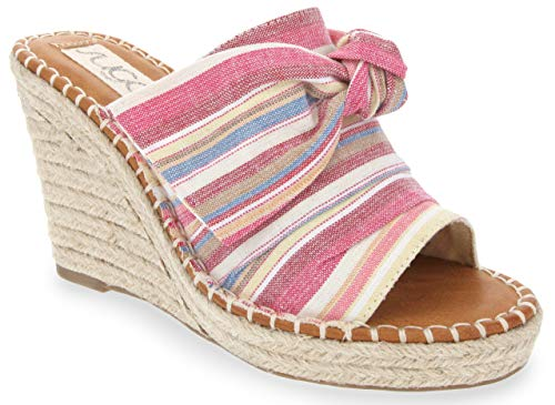 Sugar Women's Hundreds Espadrille Wedge Sandals with Knotty Bow Detail 8 Multi Beach