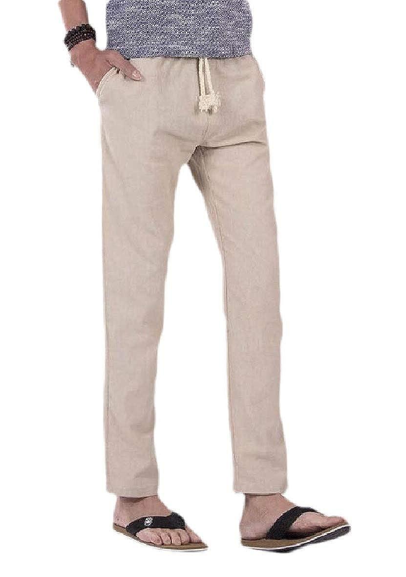 RDHOPE-Men Lounger Relaxed-Fit Cotton Blend Elastic Drawstring Pants