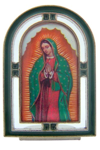 Religious Gifts Catholic 2 1/4 Inch Silver Green Enamel OL Our Lady of Guadalupe Marian Standing Icon
