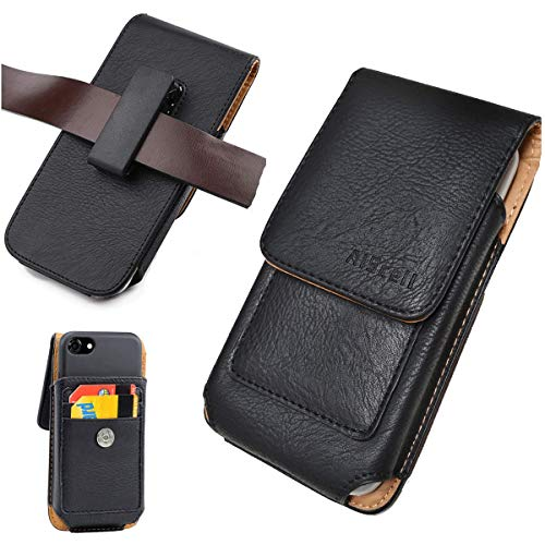 AISCELL Wallet Case,Vertical Black Leather Pouch Swivel Clip Holster 6.6 X 3.5 X 0.60 Inches, for Moto Z3 Play,Moto Z3, G7 Plus, Moto G7, Moto Z4, REVVLRY+,One Zoom,with Protective Cover on 04