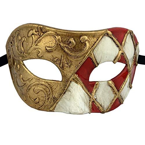 Xvevina Venetian Party Mask Men Mask (Luxury Red Gold)