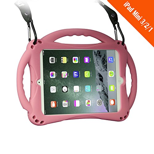 TopEs iPad Mini Case Kids Shockproof Handle Stand Cover&(Tempered Glass Screen Protector) for iPad Mini, Mini 2, Mini 3 and iPad Mini Retina Models (Pink)