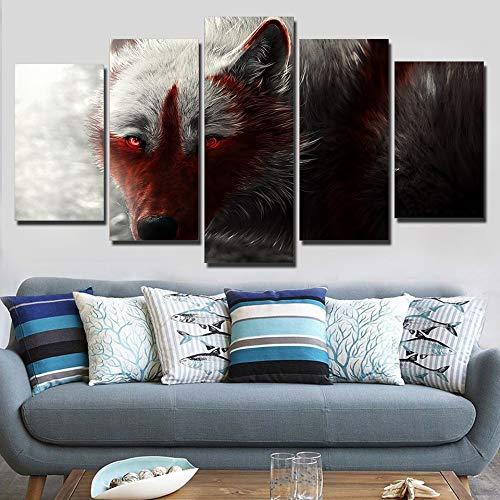 Los mejores precios y los estilos más frescos. GUDOJK HD Impreso Pintura sobre Lienzo 5 5 5 Panel Arte de la Parojo para Vivir Ro Imágenes Modulares Scary Wide Wolf con rojo Eye Cuadros Decoración 20x35 20x45 20x55cm  barato y de alta calidad