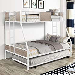 Bedroom Twin Over Full Bunk Beds with Trundle,Heavy Duty Metal Bed Frame with Safety Rail Side Laddres for Dormitory Bedroom… bunk beds