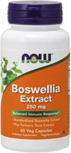 NOW Supplements, Boswellia Extract 250 mg, plus Turmeric Root Extract, 60 Veg Capsules