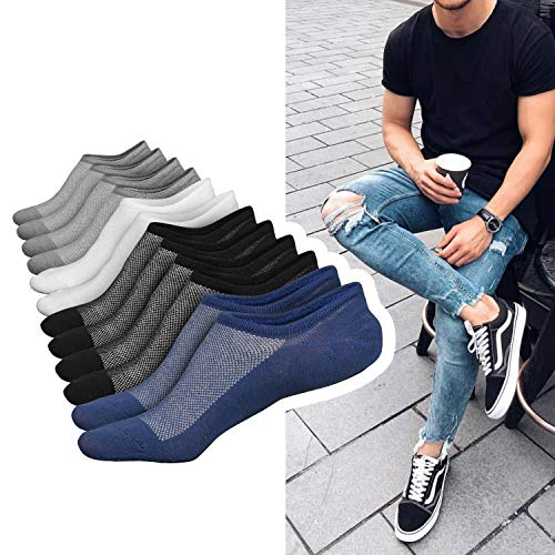 Mens No Show Low Cut Invisible Cotton Socks Non Slip Moisture Wicking 6 Pairs Casual Boat Socks Size 6-11