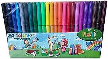 Pampy - Pack de 24 rotuladores de colores: Amazon.es: Oficina y papelería