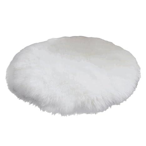 Chen Rui (TM Alfombra Shaggy Pelo Largo Suave Lana Artificial Alfombra Redonda para Salón Dormitorio Baño Sofá Silla Cojín (Blanco, 30 * 30 cm)