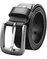 "Lecxci Men's Trinity 1 1/2"" Wide Real Leather Waist Belt with Nickel Single-prong Buckle"