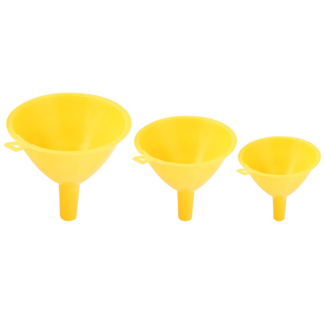 sourcingmap® Lab Tools Plastic Oil Fuel Water Refilling Filter Funnel 3pcs Yellow a14111800ux0664