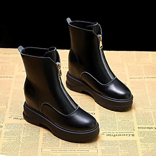 Shukun Stiefeletten Pu Stiefel Frauen Frauen Frauen Herbst erhöht Schuhe Winter dicken Schnee dünne dünne Martin Stiefel Mode 264194