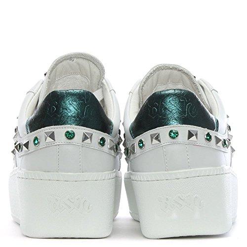 Zapatillas cuero azul de y Ash marino cuero Chunky blanco esmeralda de Clone aWnWBrvT
