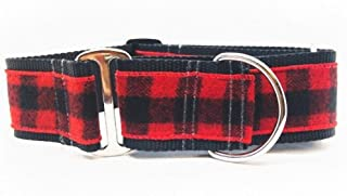 "product image for Diva-Dog 'Buffalo Plaid Sierra Red' 2"" Extra Wide Chainless Martingale Dog Collar ~ MD, LG, XL"