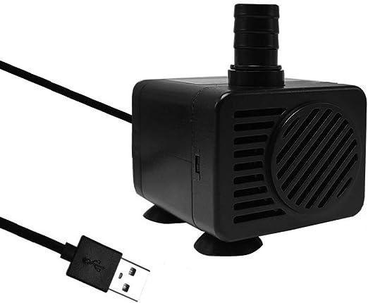 Homvik USB Mini Bomba de Agua Sumergible 200L//H 1.5W Bomba Agua para Fuente de Agua Mascotas Acuario Estanque y Pecera Ultra Silencioso Circulaci/ón de Agua Dulce y Marino Altura 1m