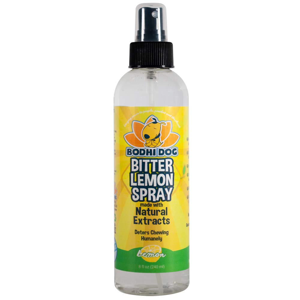 NEW Bitter Lemon Spray | Stop Biting and Chewing for Puppies Older Dogs & Cats | Anti Chew Spray Puppy Kitten Training Treatment | Non Toxic | Professional Quality - Made in USA - 1 Bottle 8oz (240ml) by Bodhi Dog