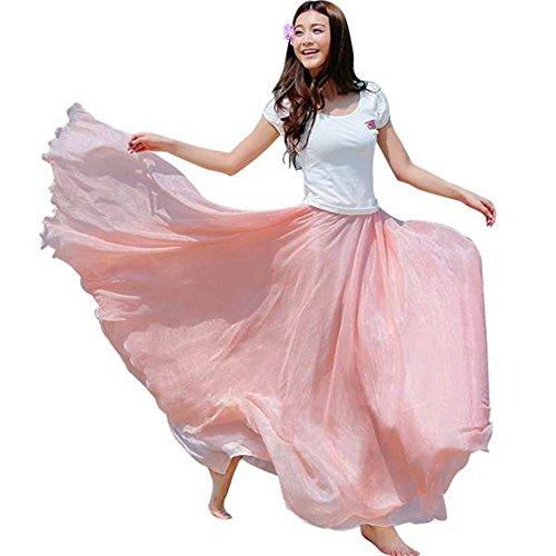 (Women Chiffon Long Skirt Boho Elastic Waist Floor Length Big Hem Solid Beach Maxi Skirt (Free, Pink) )