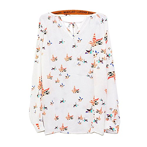 (TOPUNDER 2018 Women Summer Casual Tops Long Sleeve Tether Blouse Chiffon Floral T-Shirt by)
