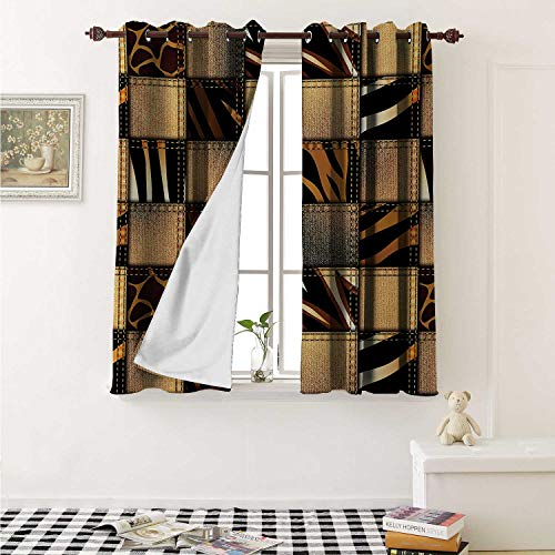 shenglv Safari Customized Curtains Jeans Denim Patchwork in Safari Style Wilderness Stylized Design Art Print Curtains for Kitchen Windows W63 x L45 Inch Brown and Black ()
