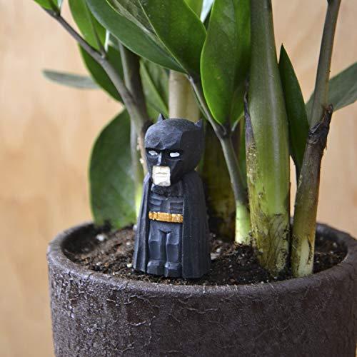 Batman Mini Wood Figure on Metallic Stake for Mini Fairy Garden Handmade Craft Idea for Home DC Comics Style Tiny Landscape Decoration Cute Miniature Art Wood Eco-Friendly Accessories (Garden Sculpture Christmas Dc)