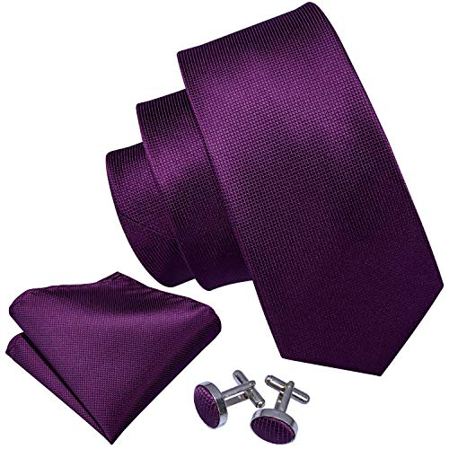 Barry.Wang Solid Color Ties Silk Hanky Cufflink Purple Groomsmen