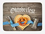 Lunarable Oktoberfest Bath Mat, Oktoberfest Beer Festival Cutlery Ribbon and Cutting Board on Restaurant Table, Plush Bathroom Decor Mat with Non Slip Backing, 29.5 W X 17.5 W Inches, Blue Gray