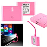 GEARONIC TM 12000mAh Universal Power Bank Backup External Battery Pack Portable USB Charger +Flexible USB Portable LED Light Mini Lamp- pink