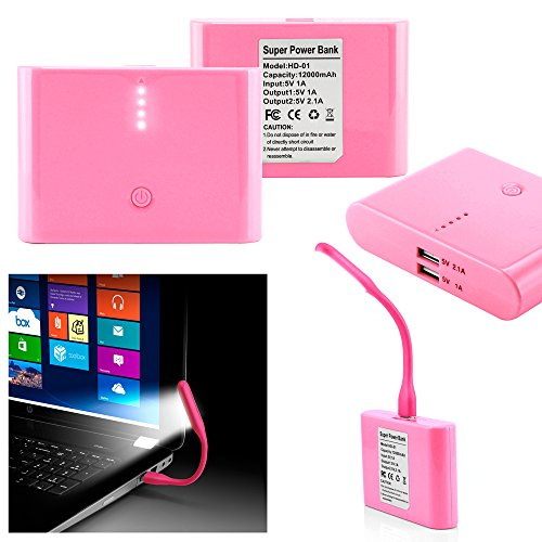 GEARONIC TM 12000mAh Universal Power Bank Backup External Battery Pack Portable USB Charger +Flexible USB Portable LED Light Mini Lamp- pink