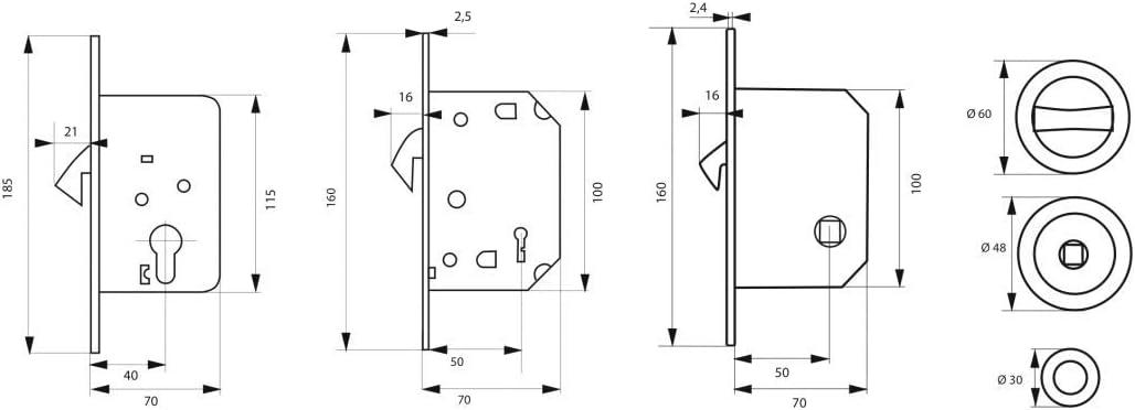 Serrupro - Cerradura empotrable para puerta corredera con gancho y condena: Amazon.es: Bricolaje y herramientas