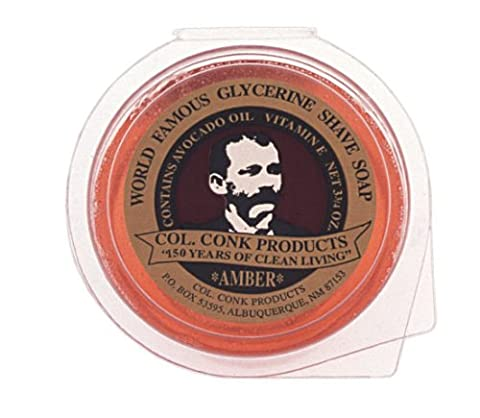 Col Conk Colonel Ichabod Conk AMBER Super Bar Shave Soap 3-3/4 oz - Extra Large - Conk Shave Soap