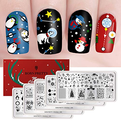 BORN PRETTY Rectangle Nail Stamping Plate Nail Stamp Image Plate Manicure Christmas Series 5PCS