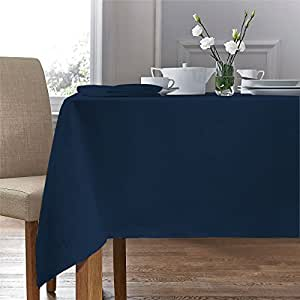 "WOVEN DAMASK ROSE NAVY BLUE CIRCULAR ROUND TABLECLOTH 54"" (137CM) & 4 NAPKINS"