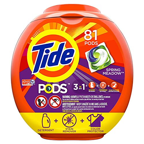 Tide PODS 3 in 1 HE Turbo Laundry Detergent Pacs, Spring Meadow Scent, 81 Count Tub - Packaging May -