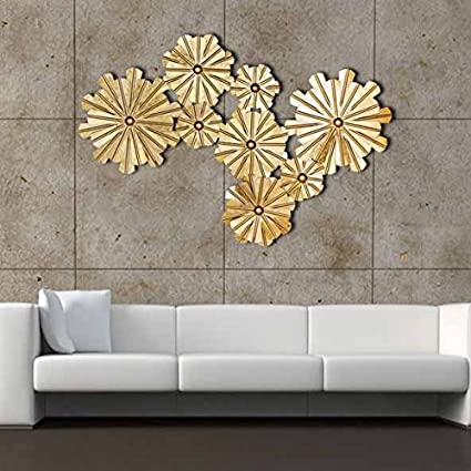 Amazoncom Decorlives 8 Golden Flowers Extra Large Metal Wall