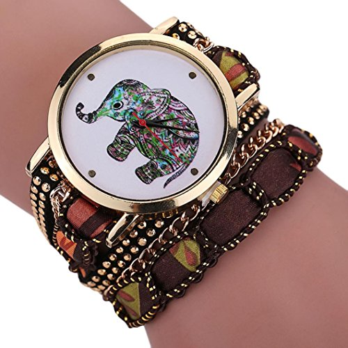 Creazy Women Girl Rhinestone Elephant Pattern Quartz Bracelet Wrist Watch (BW)