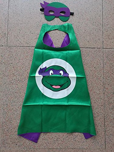 Superhero Halloween Party Cape and Mask Set for Kids 15+ Styles! (Teenage Mutant Ninja Turtles Donatello)