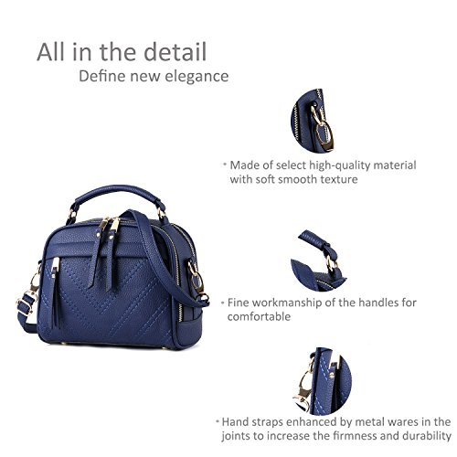 RUIREN Damen Umhängetasche Multifunktionstaschen, Schulter Handtaschen für Frauen Saphir