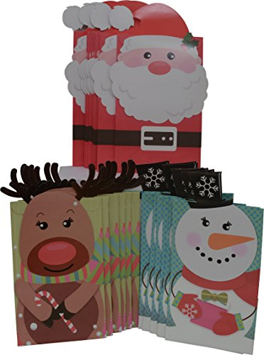 (Christmas goody cookie bags, Santa, Reindeer & Snowman designs, 8 of each, 24 party bags)