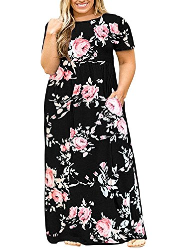 Womens Plus Size Maxi Dresses Short Sleeve Causal Summer Floral Plain Loose T Shirts Long Dress with Pockets Black (Dress Sleeve Short Empire Black In)