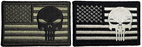 [Set 2 of American USA Flag Patch with Skull Sew on Iron on Embroidered Applique Patch 2