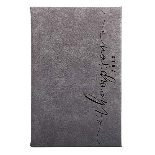 United Craft Supplies Personalized Leatherette Cover Notebook for Gift, Last Name Design, Single ()