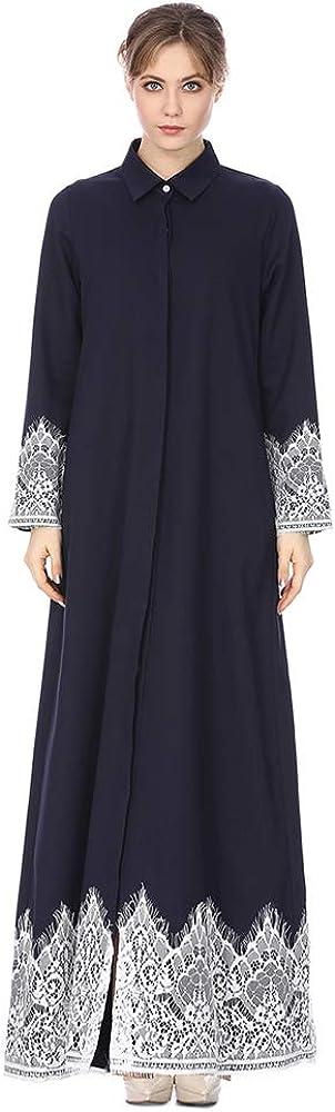 Ladies Lace Prayer Dress Hijab not Included BOZEVON Ethnic Muslim Dress