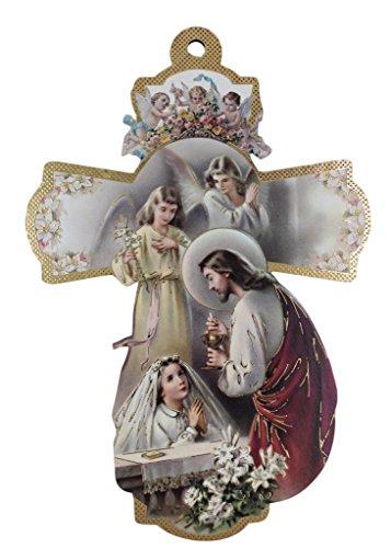 Communion Girl Plaque - First Holy Communion Girl Keepsake Italian Wooden Cross Plaque 8.25-Inch
