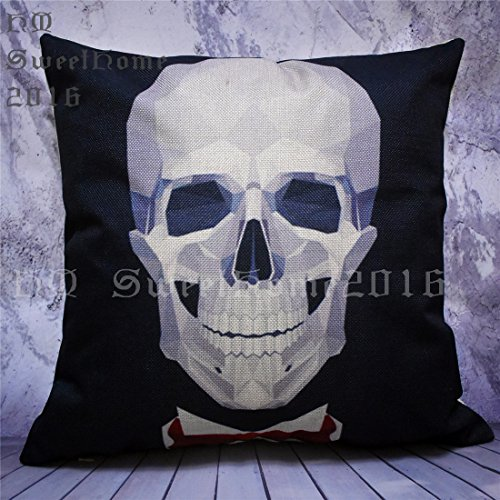 Home4Joys Wedding Crystal Skulls Pillow Sofa Cushion Covers Black Throw Pillow Case Square 45x45CM