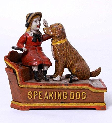 Global Art World J. E. Stevens Company 1897 Re-Creation Heavy Quality Antique Style Cast Iron Mechanical Vintage Speaking Dog Money Box Bank MB 04 by Global Art World (Image #1)
